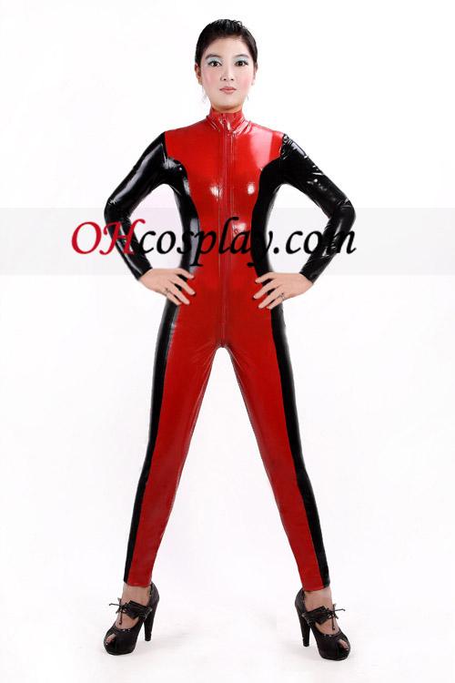 Schwarze und rote Latex Catsuit