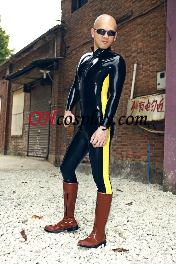 검정색과 노란색 라텍스 의상