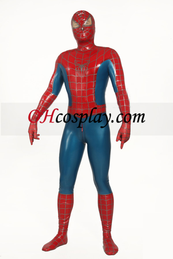 Red and Blue Striped Spiderman Superhero Zentai Suit