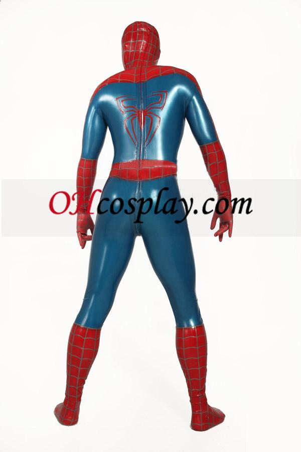 빨간색과 파란색 줄무늬 스파이더 맨 영웅 Zentai 옷 한 벌