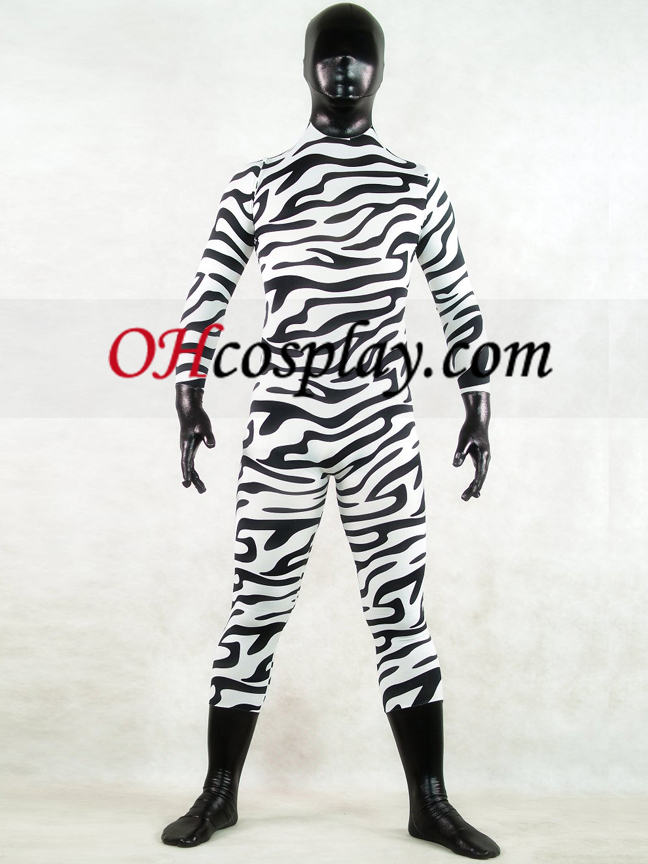 Zebra δέρμα Full Body Suit Lycra Spandex Zentai