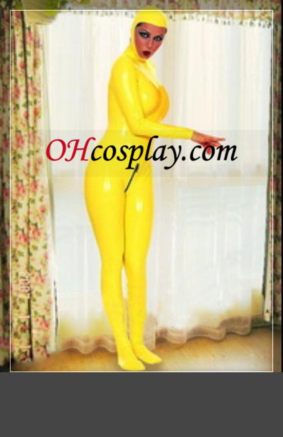 황금 노란 가득 차있는 몸 여성 라텍스 의상을 커버