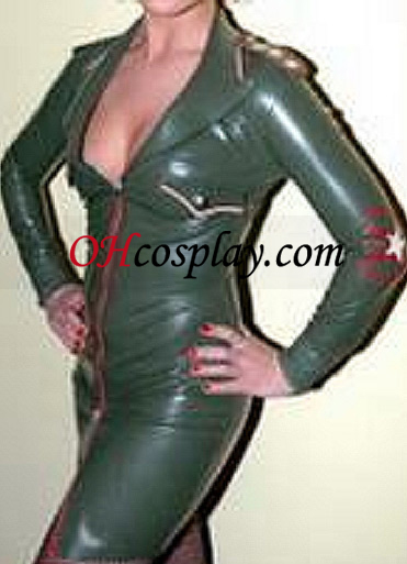 Army Green Mély-V Female Latex ruha