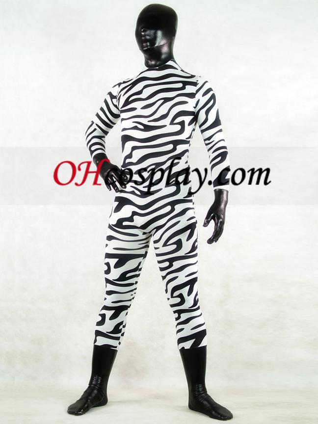 Zebra Skin Full Body Lycra Spandex Зентай Suit