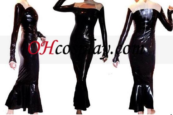 검은 색과 흰색 긴 소매 라텍스 복장