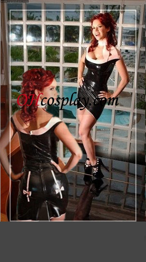 Black and White High Neck Latex Mini Jurk