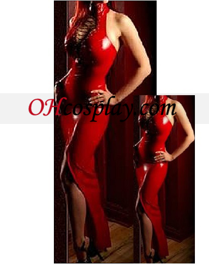 Sexy Red Female Latex Cheongsam Dress