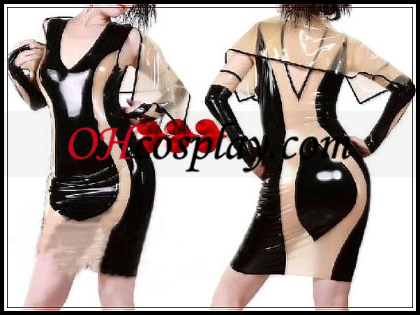 Sexy Black and Muddy-brown Female Latex Dress with Shawl