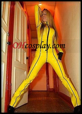 노란색 여성 Coplay의 라텍스 의상