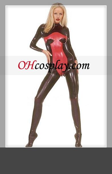 빛나는 검정과 빨강 긴 소매 여성 라텍스 의상