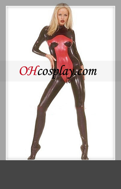 Shiny Black en Red Lange Mouwen Vrouw Latex Kostuum