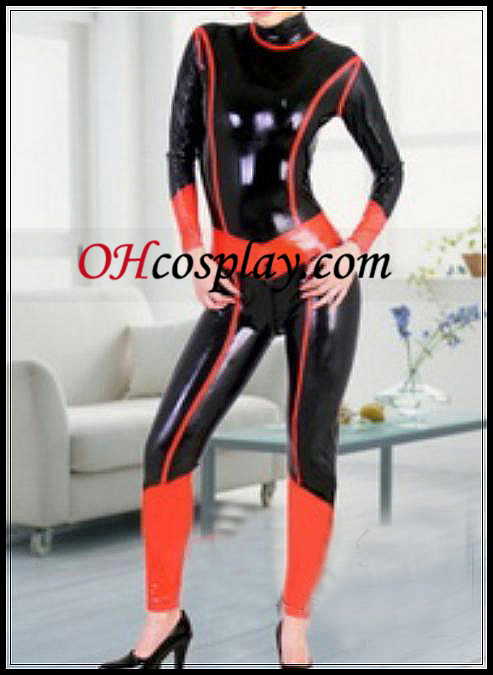 Musta ja punainen Full Body Katettu Latex Costume