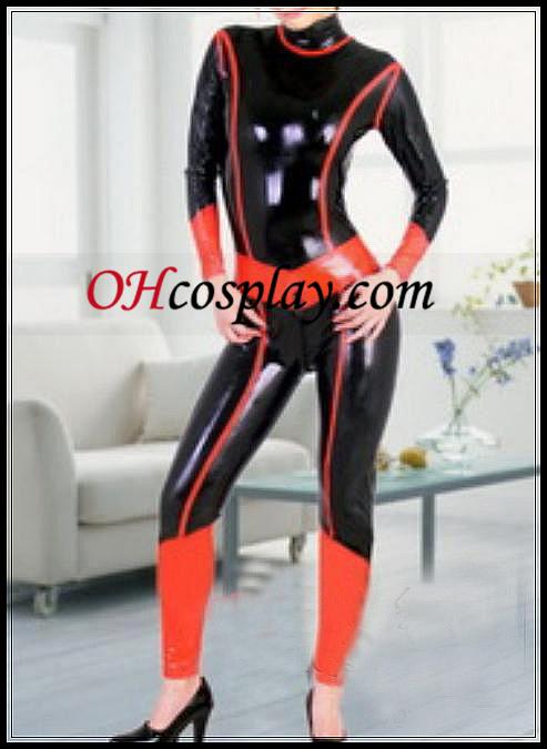 Черно и Червено Full Body Покрит Latex Costume