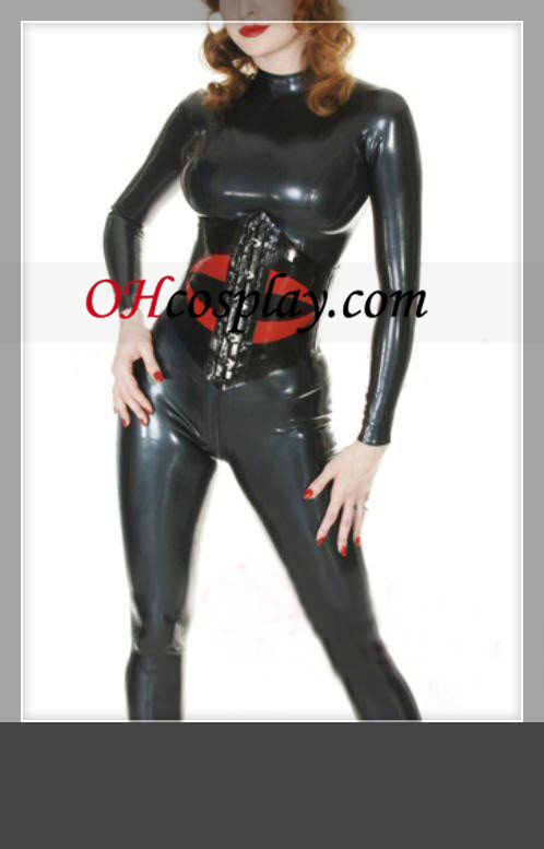 Black and Red Long Sleeves Female Latex Costume