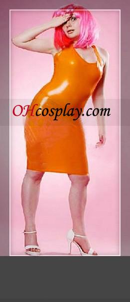 Orange Sleeveless Female Latex Dress