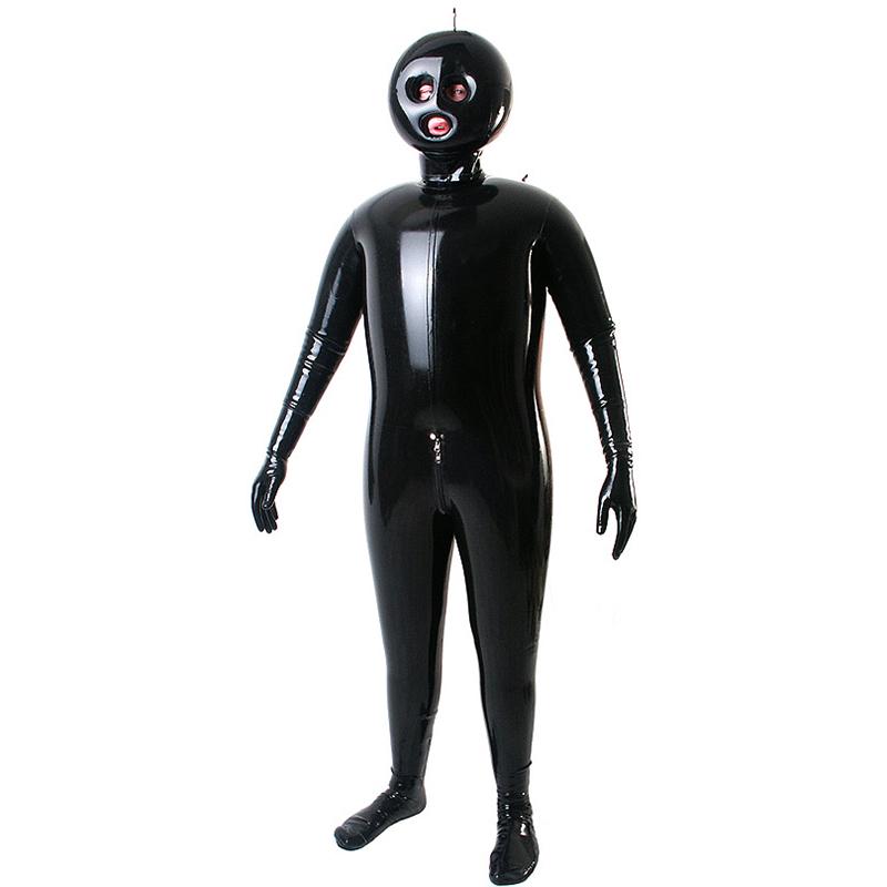 שחור מלא גוף מכוסה מתנפח לאטקס תלבושות בעיניים פקוחות ופה