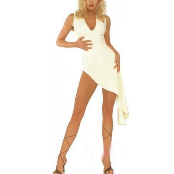 섹시한 백인 여성 라텍스 이브닝 드레스