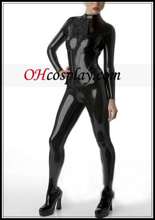 빛나는 검은 색 줄이 그어진 여성 라텍스 의상