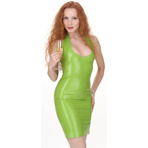 Sexy Prasinous Female Latex Dress