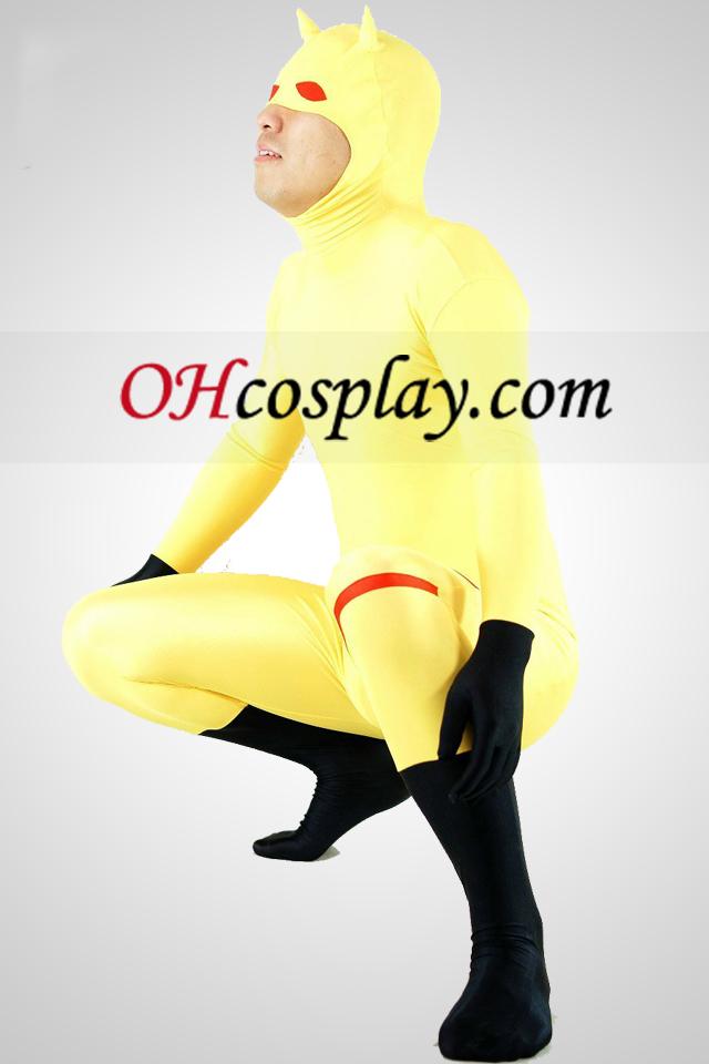 Gele Lycra Spandex Unisex Zentai Animal Kostuums Met Half Gezicht Open