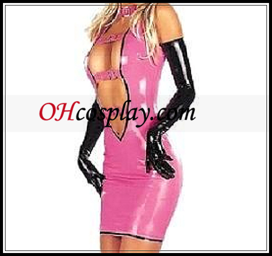 Sexy Pink Front Åpen Kvinne Mini Latex Dress