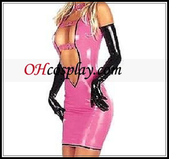 Sexy Roze Voorzijde Open Female Mini Latex Jurk