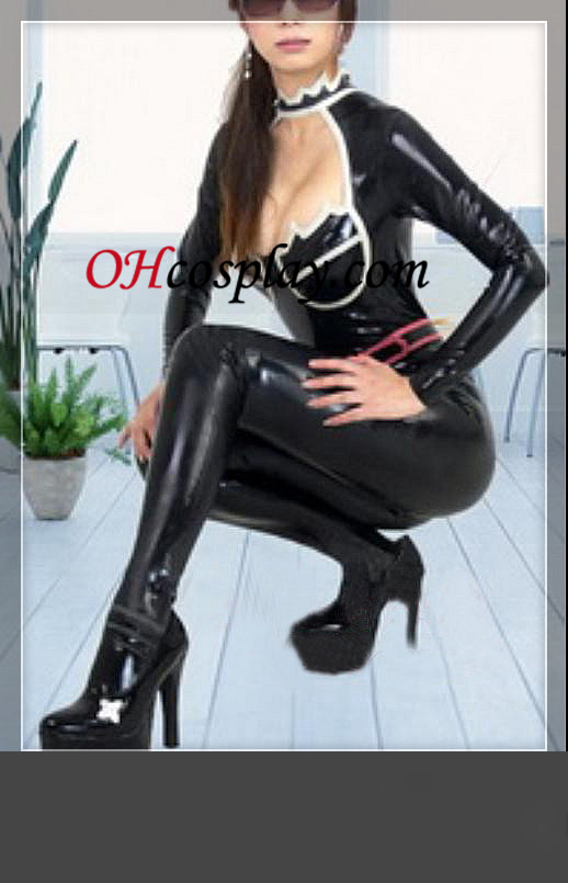 2012 nya Shiny Black Female Latex Kostym