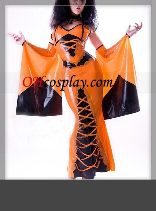Vestido de uma peça preta e laranja mangas compridas Feminino Latex