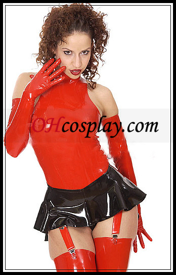 Musta ja punainen Sexy Latex minimekko