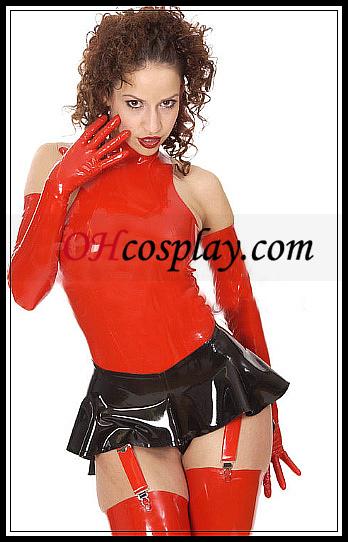검정과 빨강 섹시한 라텍스 미니 드레스