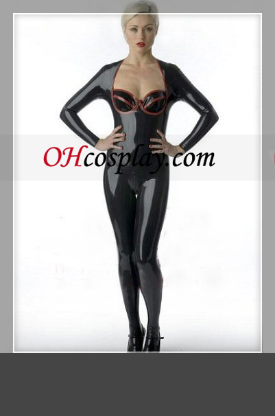 Shiny Black Long Sleeves Female Catsuit