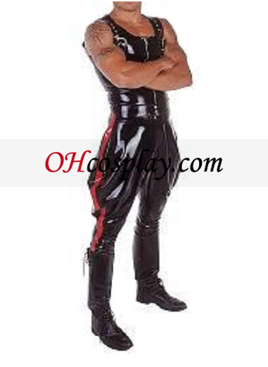 Glänzend schwarze und rote ärmel Männlich Latex-Kostüm