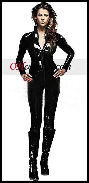 Shiny Черно Sexy Long Sleeves Жена Catsuit