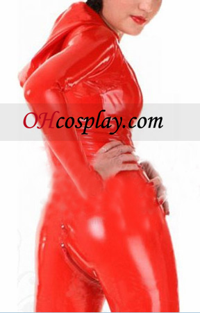 Red Telo tvaru dlhý rukáv Dámske Latex Kostým