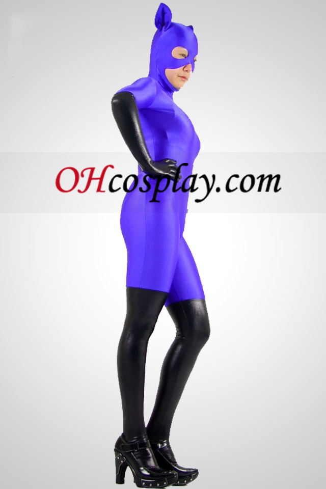 Purple Cat Woman Lycra Zentai Obleky