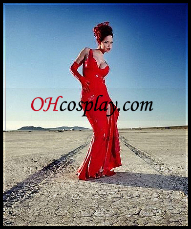 Red Sexy Жени Latex Long Dress