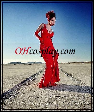 אדום סקסי נקבה אטקס ארוכה שמלה