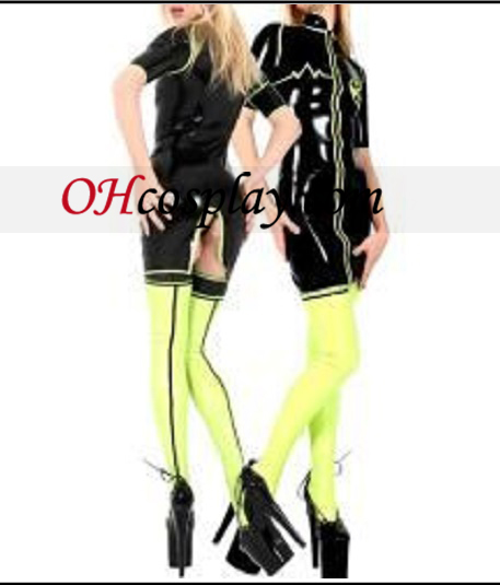2012 Black Female Hip Furcal Latex Dress