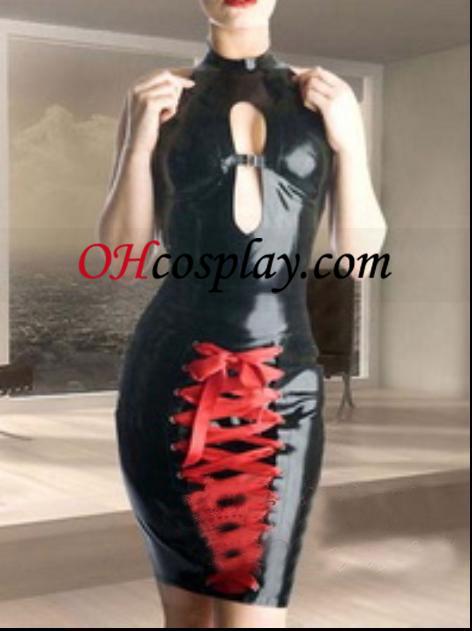 Sexy Sleeveless Black and Red Female Latex Costume