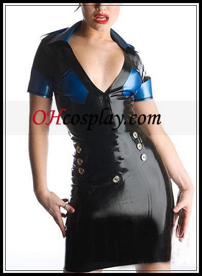 검은 색과 파란색 깊은 V 넥 라텍스 의상
