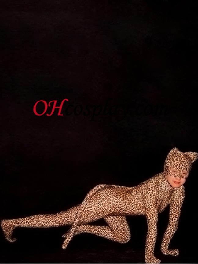 Lepard kože S Tail Lycra Spandex Zentai Obleky