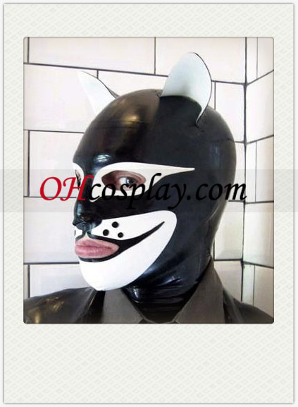 Black and White Doglike SM Latex Mask with Open Eyes and Mouth