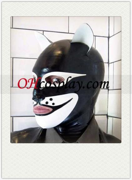 흑백 Doglike SM 라텍스 열기 눈과 입 마스크