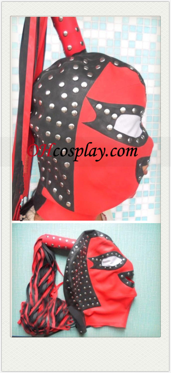Red Black and Nail-Shaped SM Latex Mask with Horsetail