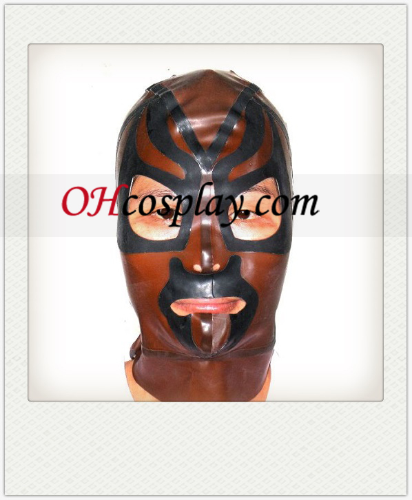 Brown and Black Male Latex Mask with Open Eyes and Mouth