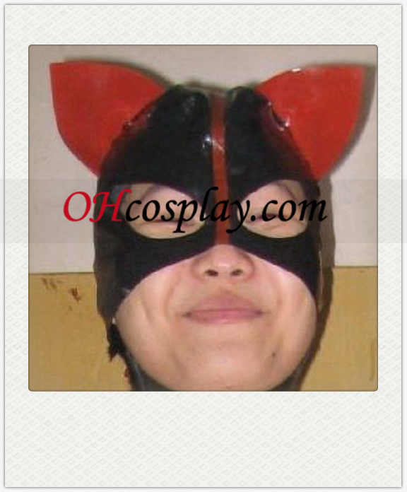 Shiny Svartvit Kvinna Cosplay Latex Mask
