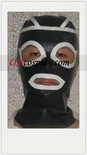 Black and White Female Cosplay Latex masker met open ogen en mond