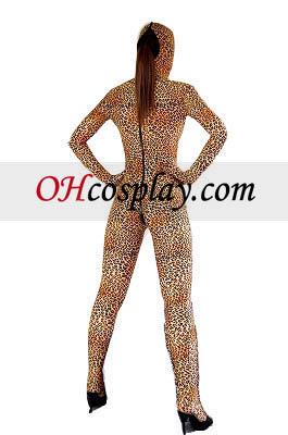Leopard Pattern отвори очите и устата Lycra Spandex Зентай