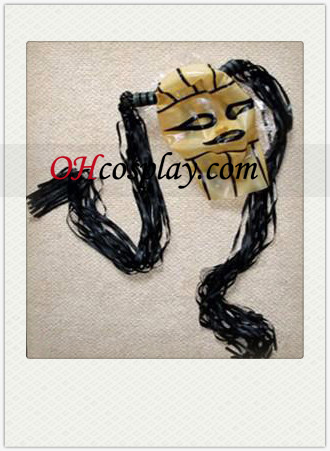 Yellow and Black Lined Latex Mask with Wig, Open Eyes and Mouth