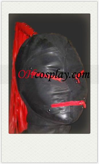 Fekete Latex Maszk vörös parókát, cipzáras szem és a száj